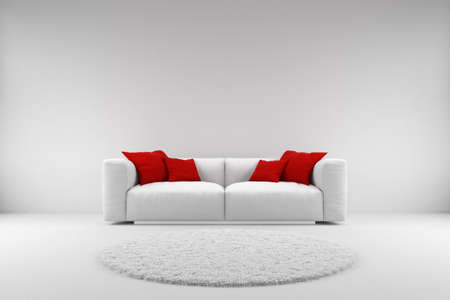 White couch with red pillows and carpet with copy space