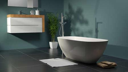 Photo pour green bathroom with plant and basin - image libre de droit