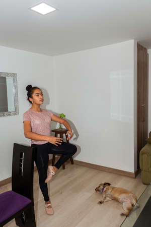 Photo pour Teenage girl in ballet pose at home with her accompanying dog lying down - image libre de droit