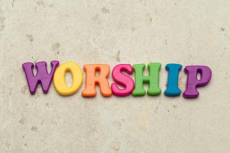Foto de The word Worship written in plastic colorful letters - Imagen libre de derechos