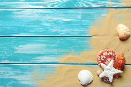 Foto de Summer time concept with sea shells - Imagen libre de derechos