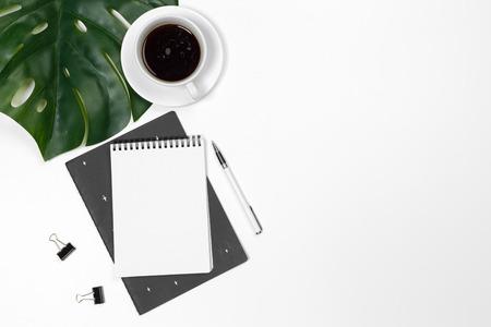 Foto de Blank office desk background with copy space for your text. Top view. - Imagen libre de derechos