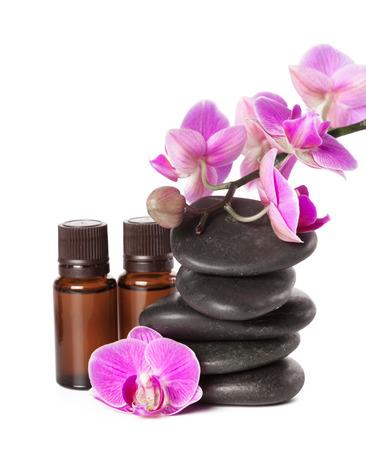 Photo pour zen stone and orchid. spa concept - image libre de droit
