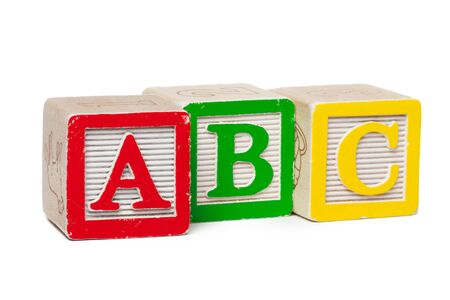 Photo pour Wooden alphabet blocks isolated on white background - image libre de droit