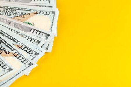 Photo for US dollar money cash on yellow background. - Royalty Free Image