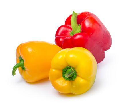Foto für red and yellow peppers isolated on white background. Close up. - Lizenzfreies Bild