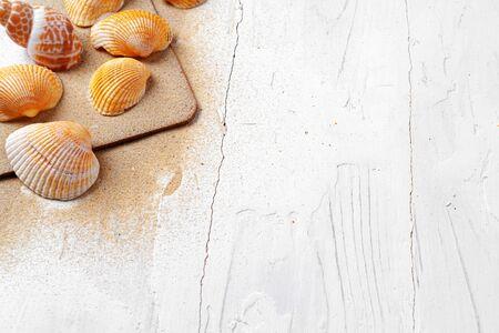 Photo pour Clipboard with sea shells on wooden table close up, copy space - image libre de droit