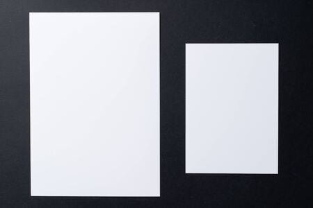Photo for White blank business cards on dark black background, copy space - Royalty Free Image