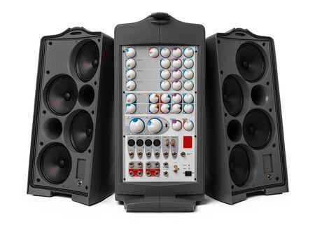 Photo pour Modern audio system amplifier on white background - image libre de droit