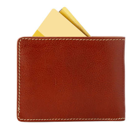 Photo pour Brown shiny wallet isolated on white background - image libre de droit