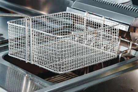 Photo pour New industrial deep fryer equipment close up - image libre de droit