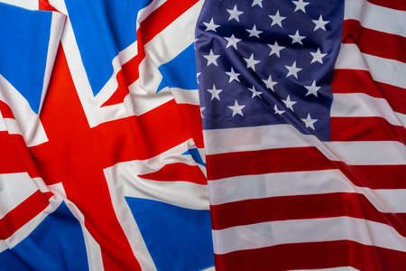 Photo pour Flags of Great Britain and USA folded together - image libre de droit