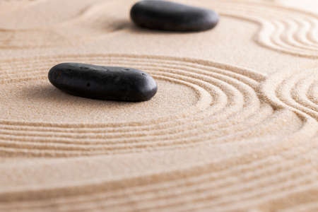 Photo for Japanese zen garden with stone in raked sand - Royalty Free Image