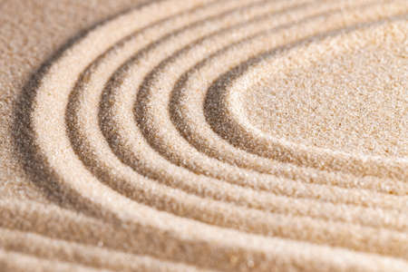 Photo pour Zen pattern in yellow sand, close up. - image libre de droit