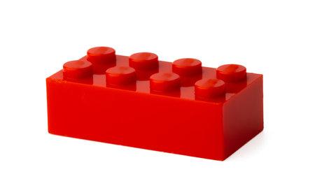 Photo pour Colored plastic toy building block isolated on white - image libre de droit