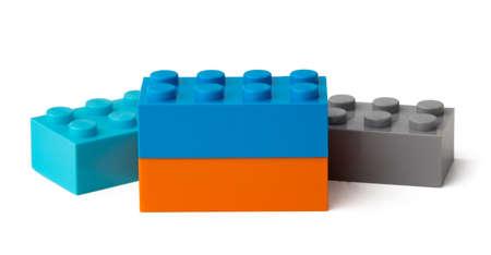 Photo pour Colorful plastic toy building blocks isolated on white - image libre de droit