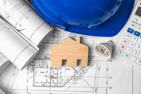 Photo for Architectural construction plans paper on table close up - Royalty Free Image