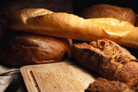 Foto für Cut bread assortment for a background, close up photo - Lizenzfreies Bild
