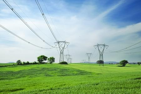 Photo pour Two overhead lines towers across a landscape with cornfields on spring - image libre de droit