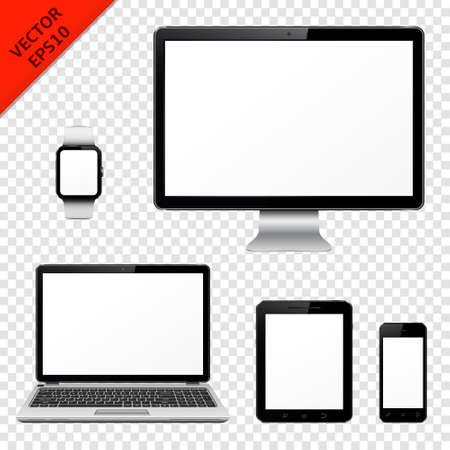 Illustration pour Computer monitor, laptop, tablet pc, mobile phone and smart watch isolated on transparent background - image libre de droit