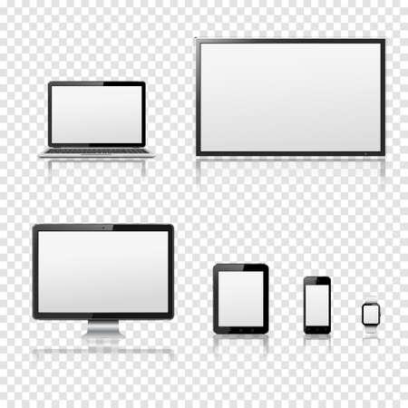 Ilustración de TV screen, lcd monitor, notebook, tablet computer, mobile phone, smart watch isolated on transparent background - Imagen libre de derechos