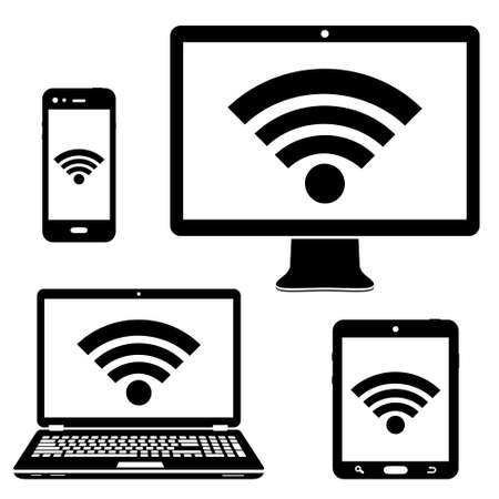 Illustration pour Computer display, laptop, tablet and smartphone icons with wifi internet connection symbol - image libre de droit