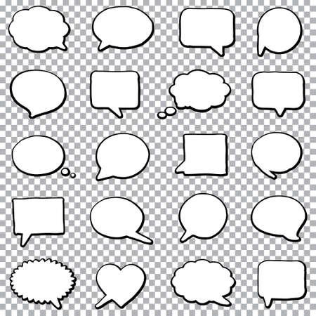 Illustration pour Hand drawn bubble speech set on a transparent background - image libre de droit