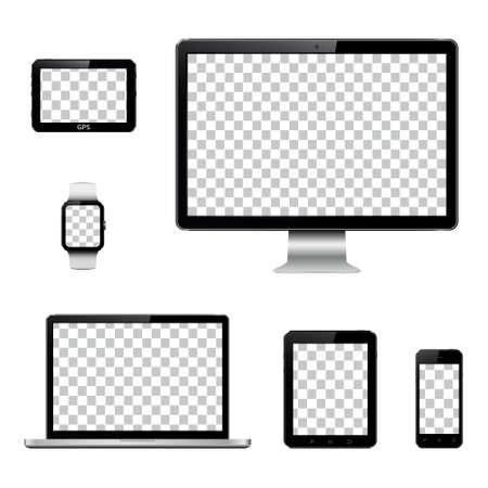 Illustration pour Set of realistic computer monitor, laptop, tablet, mobile phone, smart watch and GPS navigation system device with transparent screen - image libre de droit