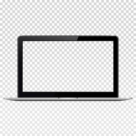 Laptop with transparent screen, isolated on transparent background.
