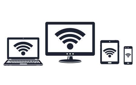 Illustration pour Digital display, laptop, tablet and smart phone icons with wifi symbol - image libre de droit