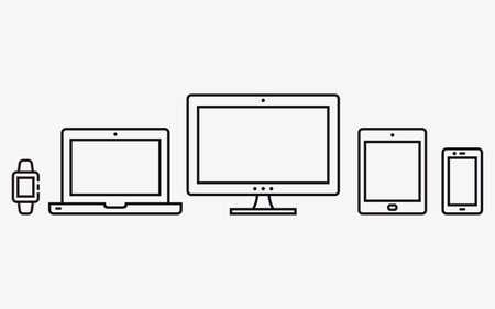 Illustration pour Responsive web design icons. Mobile phone, tablet, laptop, desktop computer. Vector illustration. - image libre de droit