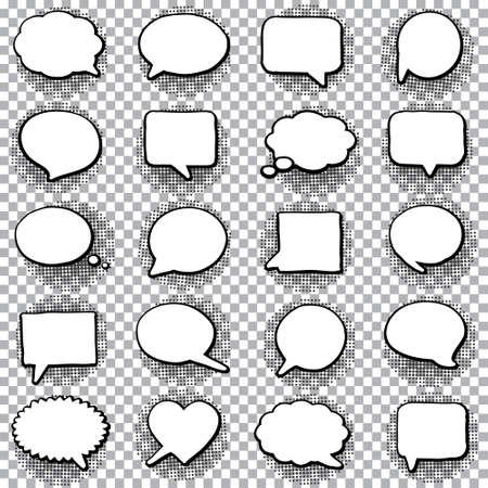 Illustration pour Hand drawn set of speech bubbles. Halftone shadows. Vector illustration - image libre de droit