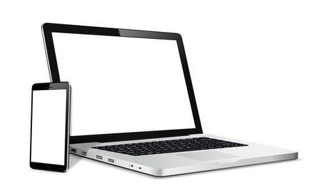 Illustration pour Laptop and phone mock up. Vector illustration for responsive web design. - image libre de droit