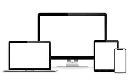 Illustration pour Responsive web design computer display with laptop and tablet pc with mobile phone - image libre de droit