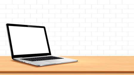 Illustration pour Laptop on table against white wall - image libre de droit