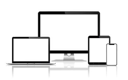 Illustration pour Responsive web design computer display, laptop and tablet pc with mobile phone isolated. Vector illustration. - image libre de droit