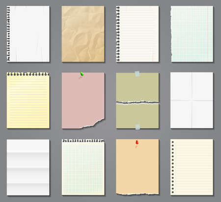 Illustration for Blank paper sheets in a cage, in a line and aged on gray background. Vector illustration. - Royalty Free Image