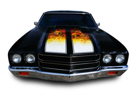 Classic muscle car isolated