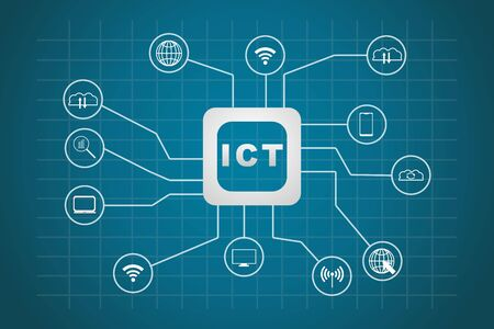 Illustration for Information and Communication Technology (ICT) icons vector - Royalty Free Image