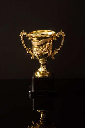Photo pour Trophy replica isolated against black - image libre de droit