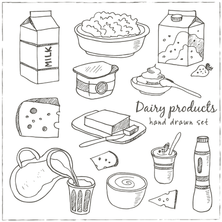 Illustration for Dairy products hand drawn decorative icons set vector isolated illustration - Royalty Free Image