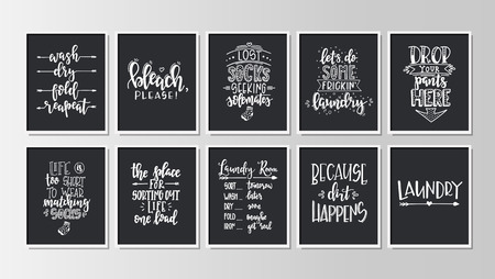 Illustration pour Laundry Hand drawn typography poster. Conceptual handwritten phrase Home and Family T shirt hand lettered calligraphic design. Inspirational vector - image libre de droit