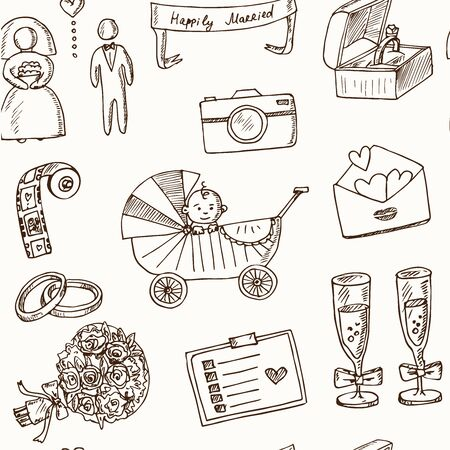 Illustration for Wedding, marriage, bridal sketch icons set. Isolated vector illustration - Royalty Free Image