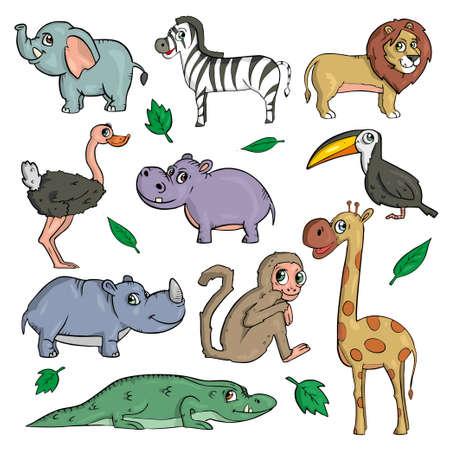 Photo pour African animals on white background Cute Cartoon Vector illustration - image libre de droit
