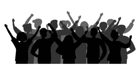 Illustration pour Black silhouette cheerful crowd people. Group of people men and women. Party celebrating, concert, applause people hands up. Vector - image libre de droit