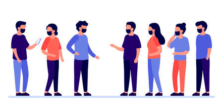 Meeting of group of people with mask for communication, talking, partnership, business relationship. Mutually beneficial cooperation. Negotiations, discussion of team workers. Vector illustration