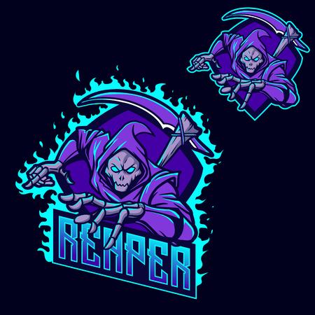 Illustration pour grim reaper ninja esport gaming mascot logo template - image libre de droit