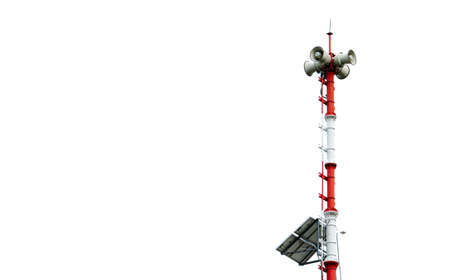 Photo pour Tsunami Warning System. Broadcast tower with solar panels. Pole of Tsunami warning system at beach. Tsunami siren warning loudspeakers. Hall alarms Coast. Disaster warning technology. Horn speaker. - image libre de droit