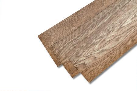 Photo for Vinyl tiles for home interior design for house renovation. New wooden pattern vinyl tile. Vinyl flooring material. Polymer vinyl sheet for new home floor. PVC material isolated on white background. - Royalty Free Image
