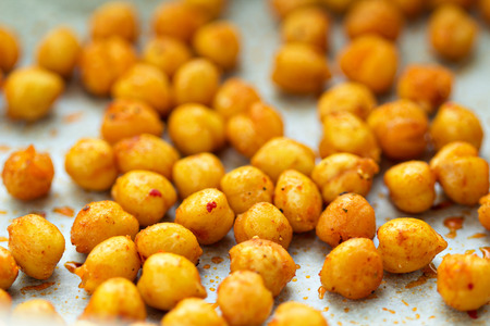 Roasted chickpeas with spices - selective focus